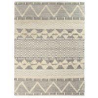 vidaXL Rug Handwoven Wool 80x150 cm White/Grey/Black/Brown