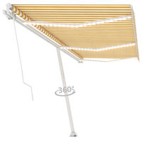 vidaXL Manual Retractable Awning with LED 600x300 cm Yellow and White