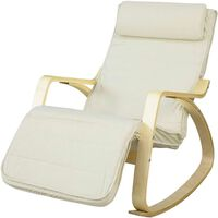 SoBuy Relax Rocking Chair Recliner with Beige Foootrest,FST16-W
