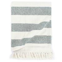 vidaXL Throw Cotton Stripe 220x250 cm Dark Green