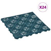 vidaXL Garden Tiles 24 pcs Green 29x29 cm Plastic