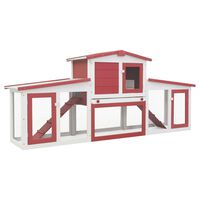 vidaXL Outdoor Large Rabbit Hutch Red and White 204x45x85 cm Wood