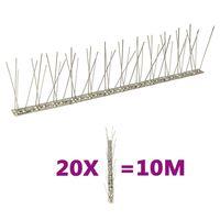 vidaXL 2-row Stainless Steel Bird & Pigeon Spikes Set of 20 10 m