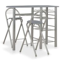 vidaXL 3 Piece Bar Set with Shelves Wood and Steel Grey