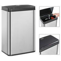 vidaXL Automatic Sensor Dustbin Silver and Black Stainless Steel 60 L
