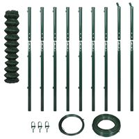 vidaXL Chain Link Fence with Posts 1.97x15 m Green