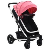 10153 vidaXL 2-in-1 Baby Stroller/Pram Pink and Black Aluminium