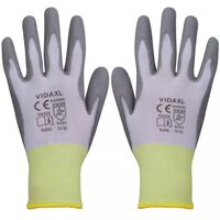 vidaXL Work Gloves PU 24 Pairs White and Grey Size 10/XL