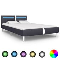 vidaXL Bed Frame with LED Black Faux Leather 135x190 cm