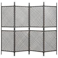 vidaXL 4-Panel Room Divider Poly Rattan Brown 240x200 cm