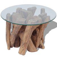 vidaXL Coffee Table Solid Teak Driftwood 60 cm