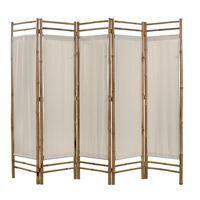 vidaXL Folding 5-Panel Room Divider Bamboo and Canvas 200 cm