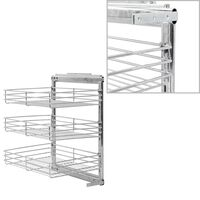 vidaXL 3-Tier Pull-out Kitchen Wire Basket Silver 47x35x56 cm