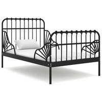 vidaXL Extendable Bed Frame Black Metal 80x130/200 cm