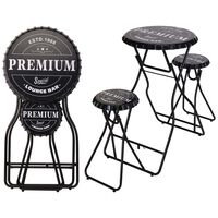 Ambiance Foldable Bar Table with Stools Black