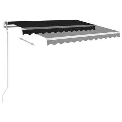 vidaXL Manual Retractable Awning with Posts 3.5x2.5 m Anthracite
