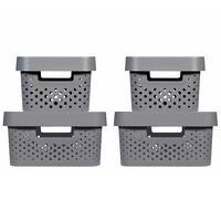 Curver Infinity Storage Box Set 4 pcs with Lid 4.5L+11L Anthracite