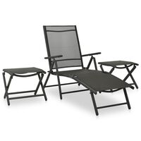 vidaXL 3 Piece Garden Lounge Set Textilene and Aluminium Black