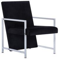 vidaXL Armchair with Chrome Feet Black Velvet