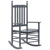 vidaXL Rocking Chair with Curved Seat Grey Poplar Wood