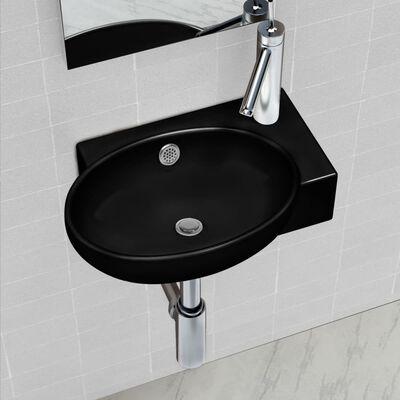 Ceramic Bathroom Sink Basin Faucet/Overflow Hole Black Round