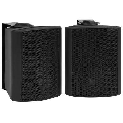 vidaXL Wall-mounted Stereo Speakers 2 pcs Black Indoor Outdoor 80 W