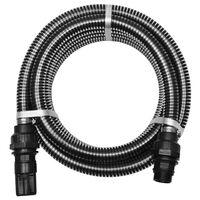 vidaXL Suction Hose with Connectors 4 m 22 mm Black