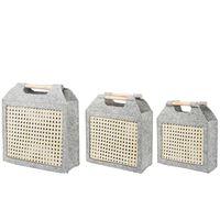 Set Of 3 Felt Baskets Grey And Beige Sariot