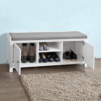 SoBuy Wooden Hallway Shoe Storage Bench, White, FSR35-W