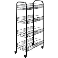 Metaltex Kitchen Trolley with 4 Baskets Pisa Black