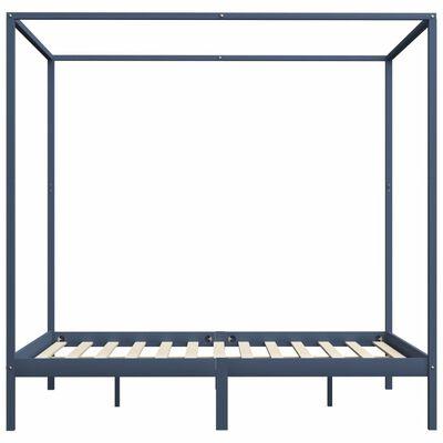 vidaXL Canopy Bed Frame Grey Solid Pine Wood 6FT Super King