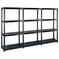 vidaXL Storage Shelf 4-Tier Black 183x30.5x130 cm Plastic