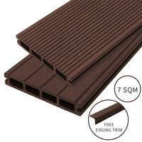 Composite Decking Boards Edging Wood Plastic / 7 SQM Conker Brown