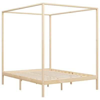 vidaXL Canopy Bed Frame Solid Pine Wood 6FT Super King