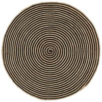 vidaXL Handmade Rug Jute with Spiral Design Black 120 cm
