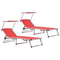 vidaXL Folding Sun Loungers with Roof 2 pcs Aluminium&Textilene Red