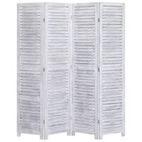 vidaXL 4-Panel Room Divider Grey 140x165 cm Wood