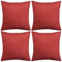 vidaXL Cushion Covers 4 pcs Linen-look Burgundy 80x80 cm