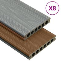 vidaXL WPC Decking Boards with Accessories Brown and Grey 16 m² 2.2 m