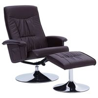 vidaXL Recliner Chair with Footstool Brown Faux Leather