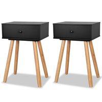 vidaXL Bedside Tables 2 pcs Solid Pinewood 40x30x61 cm Black