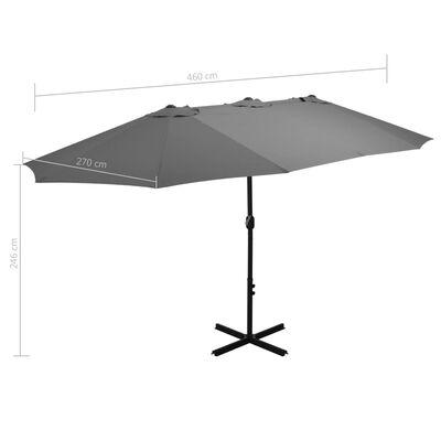 vidaXL Outdoor Parasol with Aluminium Pole 460x270 cm Anthracite