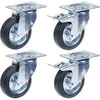 """100mm 4"""" castor rubber tyre, swivel & brake, strong 360kg capacity,"""