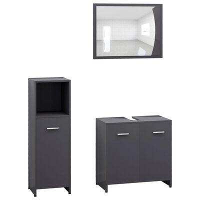 vidaXL 3 Piece Bathroom Furniture Set High Gloss Grey Chipboard