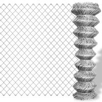 vidaXL Chain Link Fence Galvanised Steel 25x1.5 m Silver