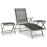 vidaXL 3 Piece Garden Lounge Set Textilene and Aluminium Silver