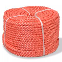vidaXL Twisted Rope Polypropylene 12 mm 100 m Orange