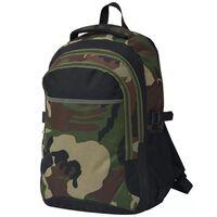 vidaXL School Backpack 40 L Black and Camouflage