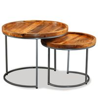 vidaXL Side Table Set 2 Pieces Solid Mango Wood