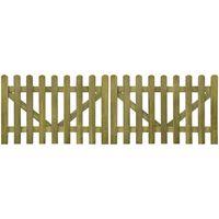 vidaXL Picket Fence Gate 2 pcs Impregnated Wood 300x100 cm